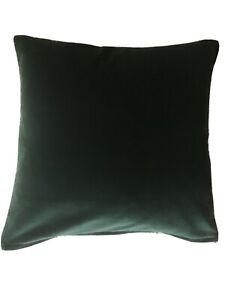 Forest Green Cotton Velvet Cushion Cover With Linen Stripe Backing
