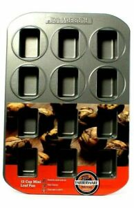 Farberware Bakeware Non Stick 12 Cup Mini Loaf Pan Oven Safe To 450 Degrees