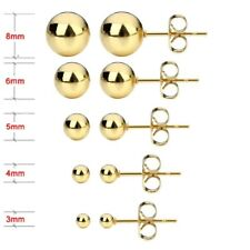 10Pcs/lot Gold Plate Stainless Steel Stud Earrings Wedding Round Ball Ear Cuff