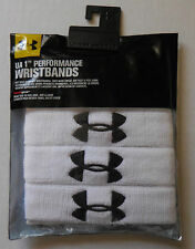 "Under Armour 1"" Performance Wristband Unisex White/Black Size OSFA Set of 4 New"