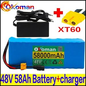 Lithium 48V 58Ah Ebike Battery 1000W Pack High Power + Charger Ebike Ion Batterr