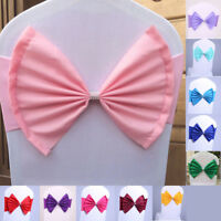 Banquet Chair Cover Decor Spandex Stretch Sashes Wedding Party Bow Buckle Band