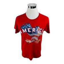New listing America Eagle Red White Blue Usa Flag Patriotic Graphic T-Shirt Men's Medium M
