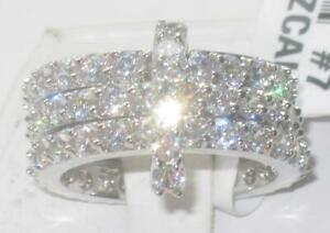 Ladies stacking bands ring cz silver full eternity rhodium sparkling new SZ N 7