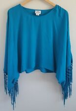 Ariat Women's Buscadero Tunic Top XS Teal Blue Fringe 100% Rayon NWT