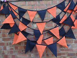 Halloween fabric bunting 2 styles,loads of colour choice.ORANGE,BLACK,RED,PURPLE