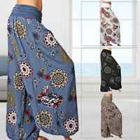 Women Floral Yoga Pants Elastic Baggy Casual Trouser Harem Hippie Boho Plus Size