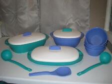 14 pc TUPPERWARE Legacy SOUP Bowls SERVER Set LADLE Dish PLATTER Spatula COVER