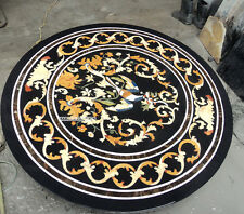 "36"" Round Black Marble Inlay Dining Table Top, Top Quality Marble Inlay Table"
