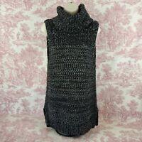 Banana Republic Tunic Sweater S Gray Knit Cowl Neck Sleeveless Mohair Wool Blend