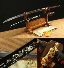 "41"" JAPANESE SAMURAI SWORD NAGINATA CLAY TEMPERED COPPER TSUBA SHELL DRAGON SAYA"