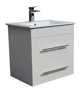 Bathroom 600mm Wall Hung Basin Sink Vanity Furniture Cabinet 2 Drawer Storage