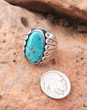 Web Turquoise Heavy Men's Ring Nr + Rich Western Old Pawn Native American Navajo