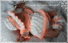 Baby/Reborn doll designer knitting pattern Angel top/nappy cover/Sun hat/bootees