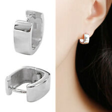 Solid 925 Sterling Silver Chunky Plain Square Hoop Huggie Earrings Men Women