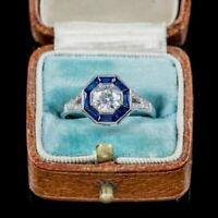 Engagement Wedding Ring Vintage Fine 925 Sterling Silver 2Ct Diamond & Sapphire