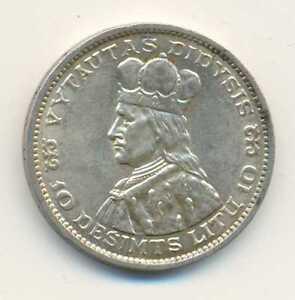 Lithuania Grand Duke Vytautas Silver 10 Litu 1936 AU