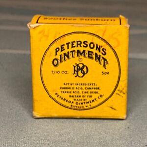Vintage Yellow PETERSON'S OINTMENT Empty Box - 50¢ - 7/10 OZ. - Buffalo N.Y.