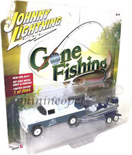 JOHNNY LIGHTNING GONE FISHING JLBT002 1959 FORD F 250 TRUCK with BOAT 1/64 BLUE
