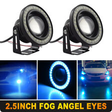"2.5"" Ice Blue Car SUV COB LED Fog Light Projector Angel Eyes Halo Ring DRL Lamp"