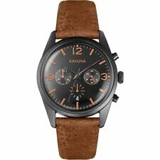 Kahuna Mens Gents Wrist Watch Black Face Brown Strap KCS-0012G