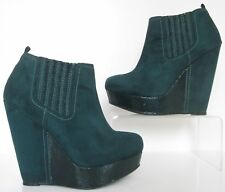 FAITH SIZE 6 WOMENS TURQUOISE GREEN SUEDE ANKLE BOOTS BOOTIES WEDGE HEELS PANELS