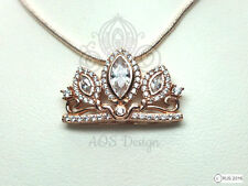 Rapunzel Tangled Pendant Necklace Disney Princess Rose Gold Tiara Crown Charm