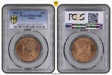 O1877 EXCEPTIONNELLE 10 Centimes Napoléon III 1861 K Bordeaux FDC MS64+ CI
