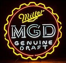 """New MGD Miller Genuine Draft Bottle Cap Beer Bar Light Lamp Neon Sign 24""""x24"""""""