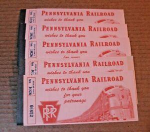Vtg  Five  Pennsylvania Railroad Tickets