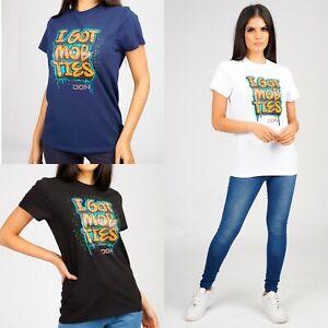 Womens Top Crew Neck T-shirt Designer Short Sleeve Cotton Tee DON RRP £55