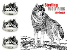 STERLING SILVER CLASSIC YELLOW STONE WOLF PACK RING 11