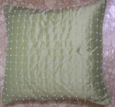 "16"" square DECORATOR PILLOW COVER~MED.GREEN SILK FABRIC w/ PEARLS~BUTTON BACK"