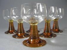 Retro/vintage 60s-70s amber/clear mid-century eames pedestal glasses x 6