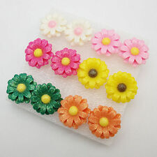 6PRS X Daisy Flower Earring Stud Wholesale Pack Mixed Color Lot
