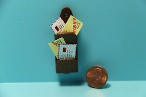 Dollhouse Miniature Wall Mail Holder with Letters in Walnut Wood IM65544
