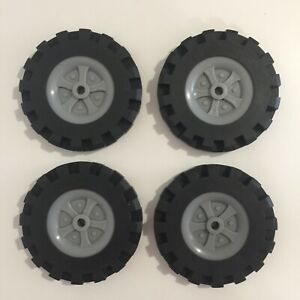 """Lot of 4 Knex wheels rubber tires bulk replacement 3.5"""" Standard Size"""