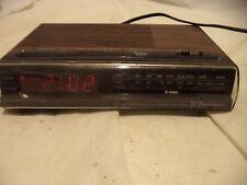 "Emerson Digital Clock Radio RED5520A Alarm Vintage Wood Grain Bedside 5x8.25"""
