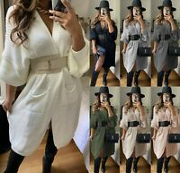Women's Ladies Chunky Cable Knitted Balloon Puff Sleeve Jumper Cardigan Cape Top