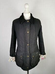 Barbour Ladies Country Cottage Printed Beadnell Black Distressed Jacket, UK 10