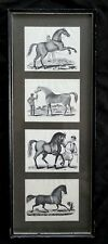 "Original antique woodblock plates by A. Bowen ""4 Thoroughbred Horses"""