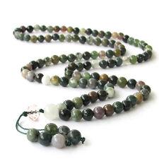 Tibetan Buddhist 108 Moss Agate Prayer Beads Mala Necklace