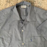 Towncraft Vintage 60s Medium Blue Short Sleeve Shirt Loop Square Rockabilly
