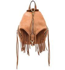 Rebecca Minkoff Stevie Julian Fringe Nubuck Leather Med Backpack Almond