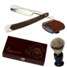 Men's Shave Kit Knife Straight Razor Shaving Brush and leather Strop Gift Boxes