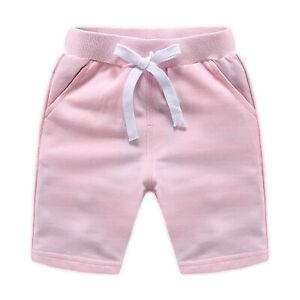 Baby Boys Girls Shorts Summer Casual Short Pants Solid Color Drawstring Bottoms
