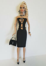 Poppy Parker Doll Clothes Black Beaded DRESS PURSE & JEWELRY Fashion NO DOLL d4e