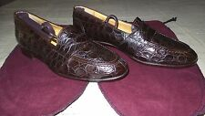 RARE! $2,500 Polo Ralph Lauren Brown Alligator Crocodile Penny Loafers Shoe Boot
