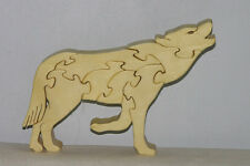 Howling Wolf - Freestanding Puzzle Hand Cut From Aspen