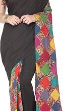 Artsy Black Heavy Cotton-raw  Silk SAREE SARI. Multicolor Patchwork Palla. NWOT